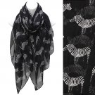 Scarf Zebra Print Black White Soft Shawl Wrap Light Weight