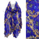 Scarf Butterfly Pattern Crinkled Periwinkle Wrap Shawl Light Weight