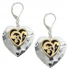 Heart Earrings Rhodium Plated w/ Matte Gold Antique Look Dangles
