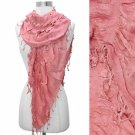 Scarf True Pink Tassel Fringe Elastic Gathered Ruffle Wrap Shawl
