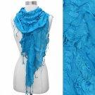 Scarf Turquoise Blue Tassel Fringe Elastic Gathered Ruffle Wrap Shawl