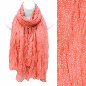 Scarf Abstract Dot Design Pink Light Weight Shawl Soft Wrap