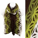 Scarf Embossed Muffler Long Soft Wrap Brown Olive Green Shawl