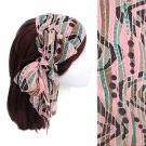 Headband Chiffon Scarf Head Wrap Sequins Light Pink Multi Print