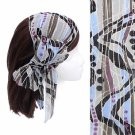 Headband Chiffon Scarf Head Wrap Sequins Light Blue Multi Print