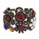 Flower Bracelet Crystals Rhinestones Bling Stretch Style Cuff