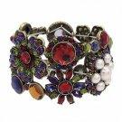 Flower Bracelet Crystals Rhinestones Bling Stretch Style Cuff