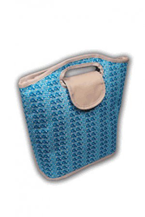 Viva Beads Lunch Bag Insulated Tote Eco-Friendly Blue Bikini Pattern