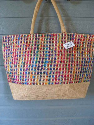 Large Bag Viva Beads Inspired VB2 Handbag Natural w/ Zipper Closure