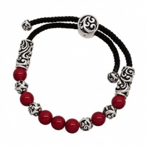 Shamballa Bracelet Antique Look Swirl Casting Silver Plate Red Beads