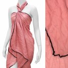 Sarong Pareo Beach Cover-Up Pink Crinkle Fabric Wrap Black Trim
