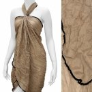 Sarong Pareo Beach Cover-Up Beige Crinkle Fabric Wrap Black Trim