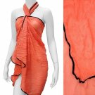 Sarong Pareo Beach Cover-Up Coral Crinkle Fabric Wrap Black Trim
