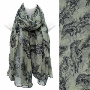 Scarf Feather Pattern Green Shawl Frayed Edge Light Weight Wrap