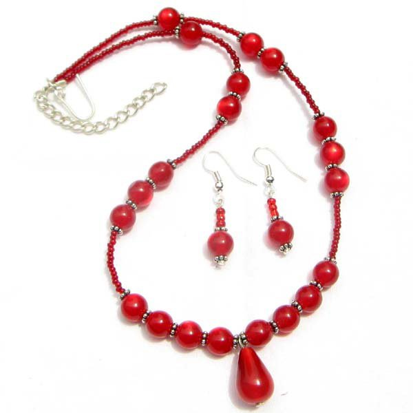 Lucite Necklace Earrings Set Ruby Red Beads Hand Beaded