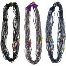 Seed Bead Necklace Colorful Oval Beads w/ Metal Button Closure Multistrand
