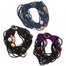 Seed Bead Bracelet Colorful Oval Beads w/ Metal Button Closure Multistrand