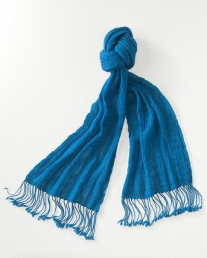 Crinkled Gauze Wool Scarf by Coldwater Creek Rich Teal Blue NEW