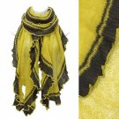 Scarf Soft Knit Wrap Shawl Mustard W/ Brown 2 Tone Ruffle Acrylic