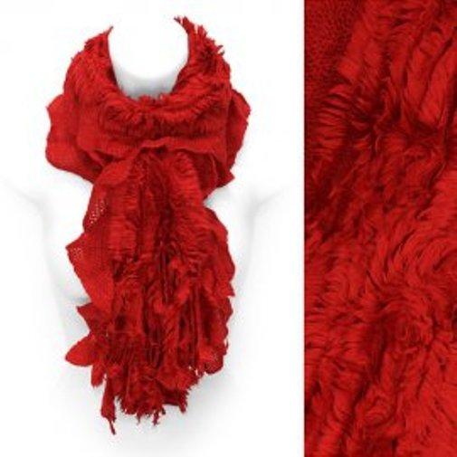 Scarf Fur Look Trim Ruby Red Rib Knit Soft Acrylic Shawl Neck Wrap