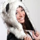 Husky Dog Faux Fur Plush Animal Hat Soft Fun Furry Cap Beanie