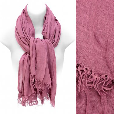 Scarf Dusty Pink All Cotton Frayed Edge Fringe Wrap Soft Shawl