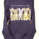 "Sweatshirt Kittens ""One Cat Just Leads To Another"" Soft Navy Knit"