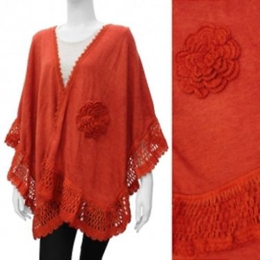 Shawl Knit Scarf Rust Orange Wrap Crochet Flower Accent