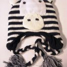 Zebra Hat Ear Warmer Knit Cap Fleece Lined by Evelyn K Black Pink