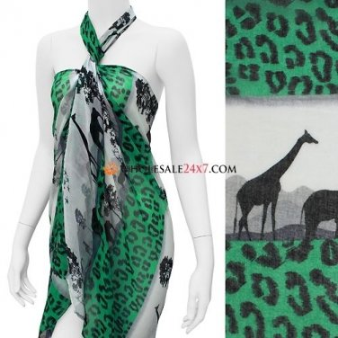 Scarf Safari Pattern Sarong Pareo Cover-Up Two Way Wrap Swimwear Green Multi