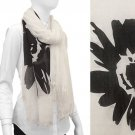 Scarf White w/ Large Black Flowers Frayed Edge Wrap Shawl