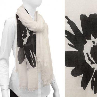 Scarf White w/ Large Black Flowers Frayed Edge Wrap Shawl