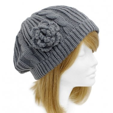 Gray Cable Knit Beret Crocheted Flower Soft Hat 1 Sz