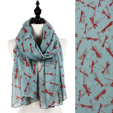 Dragonfly Pattern Scarf Gray w/ Deep Red Dragonflies
