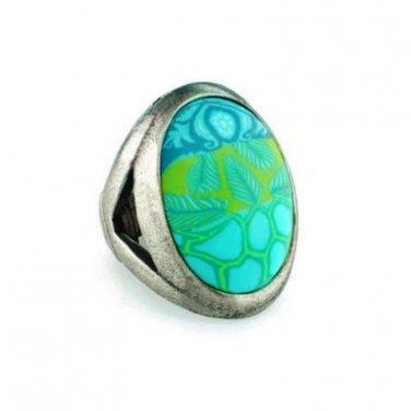 Jilzara Ring EMERALD Stretch Style Polymer Clay Antique Finish