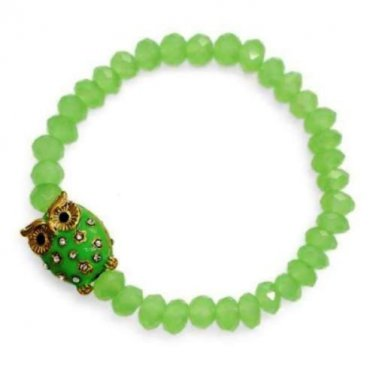 Owl Charm Bracelet Green Beads Crystals Rhinestones Stretch Style Gold Plated