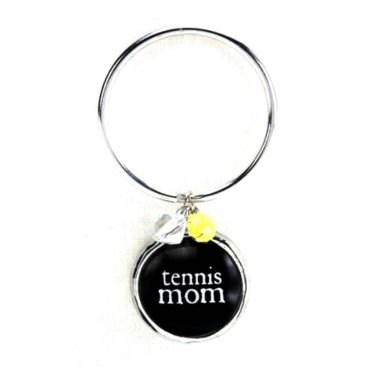TENNIS Mom Key Chain Glass Bubble Charm Beads Damask Emblem by Occasionally Made