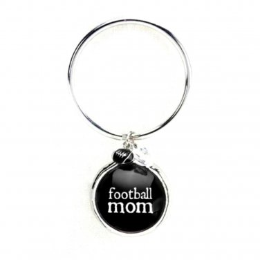 FOOTBALL Mom Key Chain Glass Bubble Charm Beads Damask Emblem by Occasionally Made