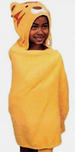 Saturday Knight Safari Hooded Bath Towel Tiger Pattern Cotton Yellow