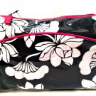 Prevail Makeup Bag Black White Floral Hot Pink Trim Mirror 10 inches Long