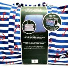 Laura Ashley Seaside Beach Tote & Family Blanket Nautical Chevron Blue Print