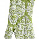 Jessie Steele Oven Mitt Green & Cream Damask Cotton with Trim Hanging Loop
