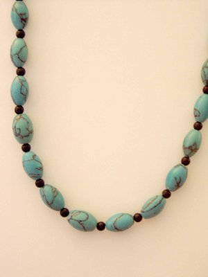 turquoise and black seed beed necklace