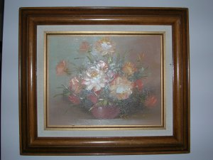 Peach Roses. SIGNED OIL PAINTING ON CANVAS, 20x24,FLORAL