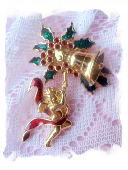 Smithsonian Christmas pin angel  Rhinestones jewelry