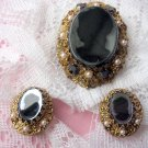 Vintage Black Cameo Silhouette Brooch Earrings Set West Germany