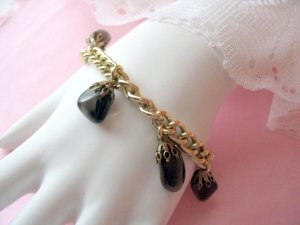 Vintage Germany Signed Glass Charm Goldtone  Bracelet