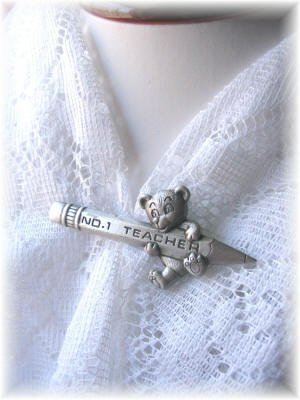 NEW JJ signed Teacher Pin Bear vintage jewelry