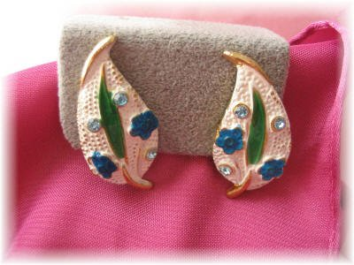 Vintage jewelry signed BSK clip earrings