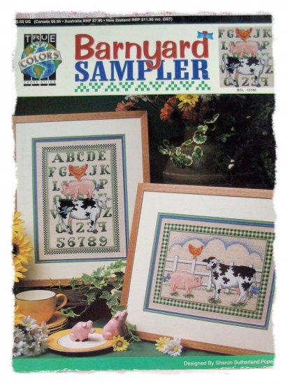 Barnyard Sampler - country cross stitch pattern true colors pig cow
